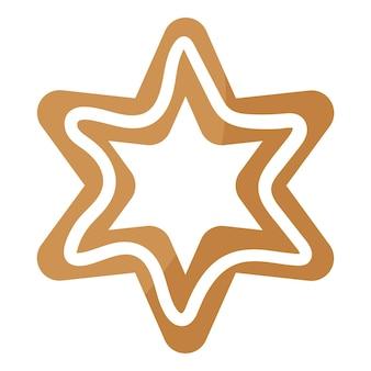 Biscotto festivo della stella di natale coperto da glassa bianca. buon natale e felice anno nuovo concetto.