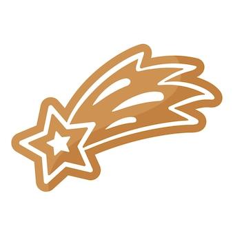 Biscotto festivo del pan di zenzero della stella di natale coperto da glassa bianca.