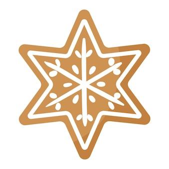 Pan di zenzero festivo della stella di natale coperto da glassa bianca. buon natale e felice anno nuovo concetto.