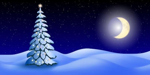 Abete di natale sullo sfondo del paesaggio invernale, cielo notturno con stelle e luna