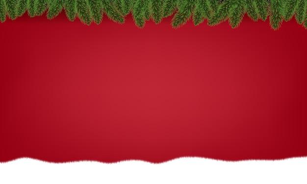 Bordo dell'albero di abete di natale con l'illustrazione della neve