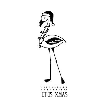 Illustrazione di doodle del fenicottero di natale. è natale. disegnato a mano nello stile di abbozzo. progettazione di vacanze. carattere divertente su uno sfondo bianco.