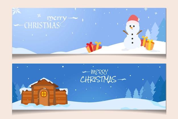 Banner di design piatto natalizio con casa e pupazzo di neve
