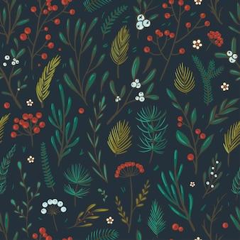 Motivo floreale natalizio bellissimo motivo vettoriale senza soluzione di continuità con bacche foglie abete e abete