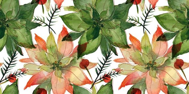 Reticolo senza giunte dell'acquerello tracciato floreale di natale