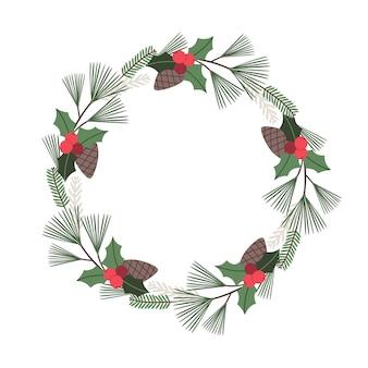 Ghirlanda floreale natalizia con pigne di agrifoglio, abete e rami di pino biglietto di auguri vettoriale