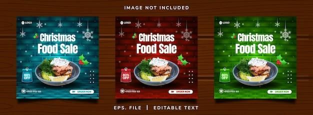 Vendita di cibo natalizio promozione sui social media e design di banner per instagram