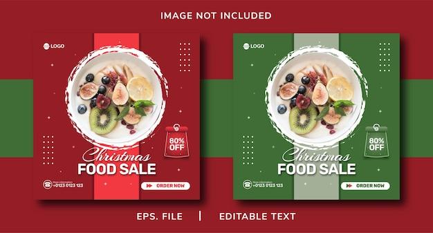 Vendita di cibo natalizio promozione sui social media e modello di instagram banner post design