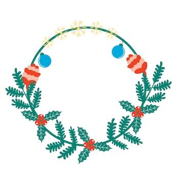 Cornice natalizia rami di conifere fiocchi di neve coni giocattoli natalizi holly holly
