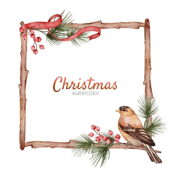 Natale cornice acquerello elemento dipinto a mano