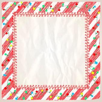 Cornice di natale con luci ghirlanda e strisce rosse sfondo di carta vuoto doodle mockup vettoriale