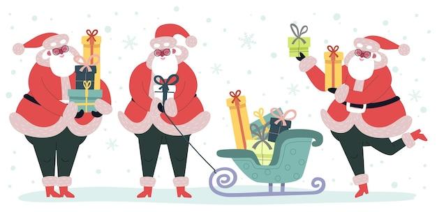 Natale divertente babbo natale con scatole regalo. personaggio di babbo natale vettoriale con regalo di natale per l'illustrazione delle vacanze, cartone animato festivo e felice anno nuovo