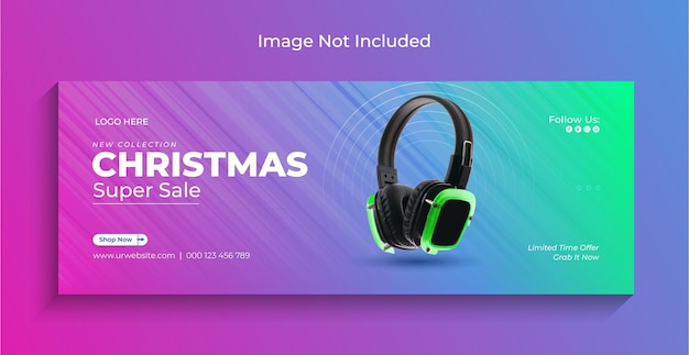 Vendita gadget natalizi banner web instagram social media o modello copertina facebook premium vector