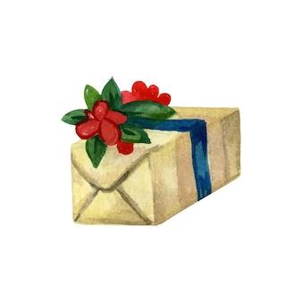 Confezione regalo di natale avvolta con carta e decorata con nastro illustrazione vettoriale ad acquerello