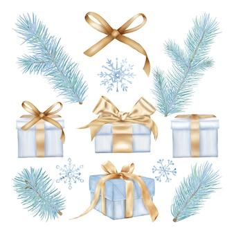 Scatole regalo di natale e fiocchi di neve con rami di pino