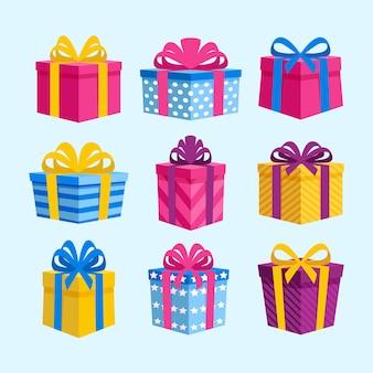 Collezione di regali di natale in design piatto
