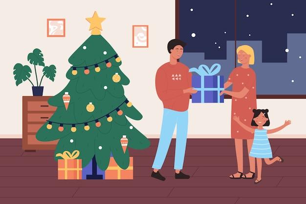 Regalo di natale per la famiglia, padre felice del fumetto che dà il contenitore di regalo di natale a madre e bambino