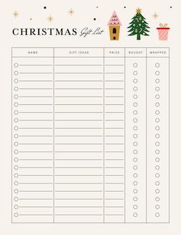 Modello di agenda per la lista dei regali di natale stampabile