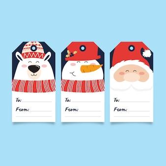 Collezione di tag regalo di natale - orso, pupazzo di neve e babbo natale