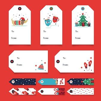 Collezione di tag regalo di natale - cane e albero