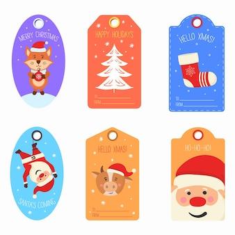 Etichette regalo di natale con carte personaggi animali invernali etichetta buon natale felice anno nuovo