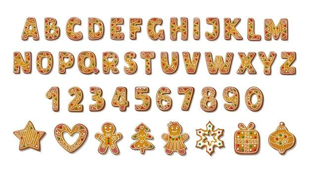 Alfabeto di panpepato di natale in stile cartone animato con diversi biscotti a forma.