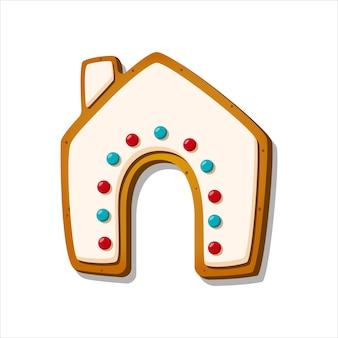 Biscotto di panpepato di natale dolce invernale smaltato a forma di casa di pan di zenzero isolata su bianco
