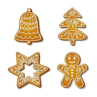 Biscotti di panpepato di natale. biscotti festivi a forma di omino di pan di zenzero e campana, albero e stella e fiocco di neve. fumetto illustrazione vettoriale.
