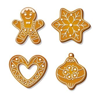 Biscotti di panpepato di natale. biscotti festivi a forma di fiocco di neve e omino di pan di zenzero, cuore e decorazione dell'albero di natale. fumetto illustrazione vettoriale.