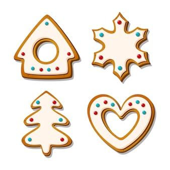 Biscotti di panpepato di natale. biscotti festosi glassati a forma di casetta e cuore, albero fiocco di neve. fumetto illustrazione vettoriale.