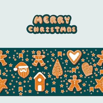 Biscotti di panpepato di natale che formano una cornice rettangolare. illustrazione di vettore. manifesto di vacanze invernali felici. capodanno. banner per le vacanze di natale