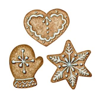 Biscotti di pan di zenzero di natale impostati, cuore della stella del fiocco di neve del guanto, cibo dolce di vacanza invernale. illustrazione dell'acquerello isolato