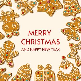 Biscotti fatti in casa del pan di zenzero di natale. biglietto d'auguri. buon natale e felice anno nuovo su sfondo bianco. illustrazione.