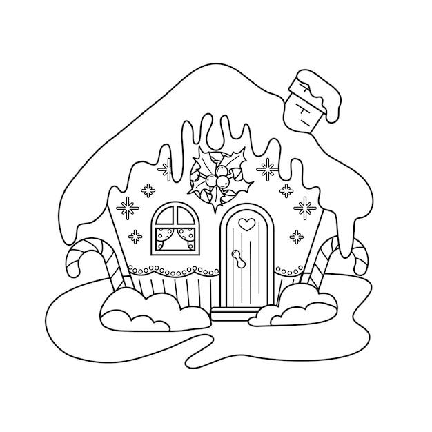 Casa di pan di zenzero di natale. una casetta carina e affascinante. una foto da colorare.