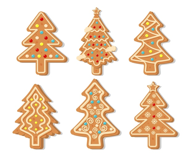 Raccolta di vettore degli alberi di pan di zenzero di natale. figure di buon natale e felice anno nuovo ricoperte di zucchero a velo.