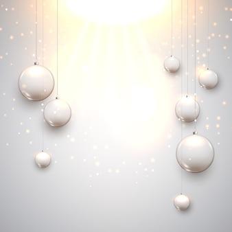 Decorazione di palle di vetro di natale con stelle. palle di celebrazione delle vacanze per natale con la luce.