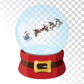 Sfera magica di vetro di natale con cervi di babbo natale. sfera di vetro trasparente con fiocchi di neve.