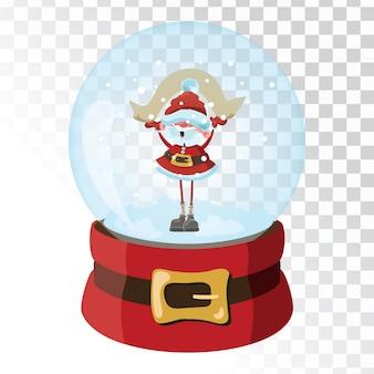 Sfera magica di vetro di natale con babbo natale. sfera di vetro trasparente con fiocchi di neve.
