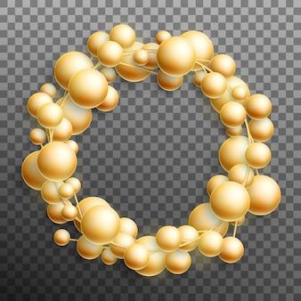 Ghirlanda di palline d'oro di natale su sfondo trasparente.