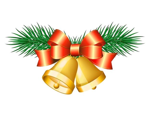 Campane d'oro di natale con fiocchi rossi. illustrazione