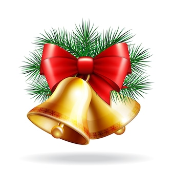 Campane d'oro di natale con nastro rosso e rami di abete. illustrazione