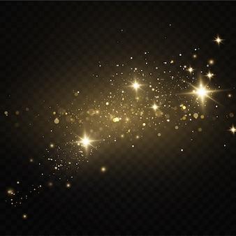 Polvere dorata di natale, scintille gialle e stelle dorate brillano di una luce speciale. il vettore brilla di particelle di polvere magica scintillante.