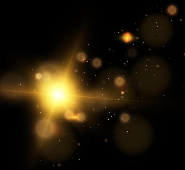 Luci di natale dorate bagliore sfondo bokeh luminoso per illustrazioni vettoriali