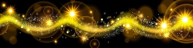 Le stelle scintillanti delle vacanze di polvere magica d'oro di natale brillano l'onda di scintillio su sfondo trasparente