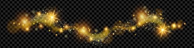 La polvere magica dorata di natale brilla l'onda di scintillio su stelle scintillanti di festa di sfondo trasparente