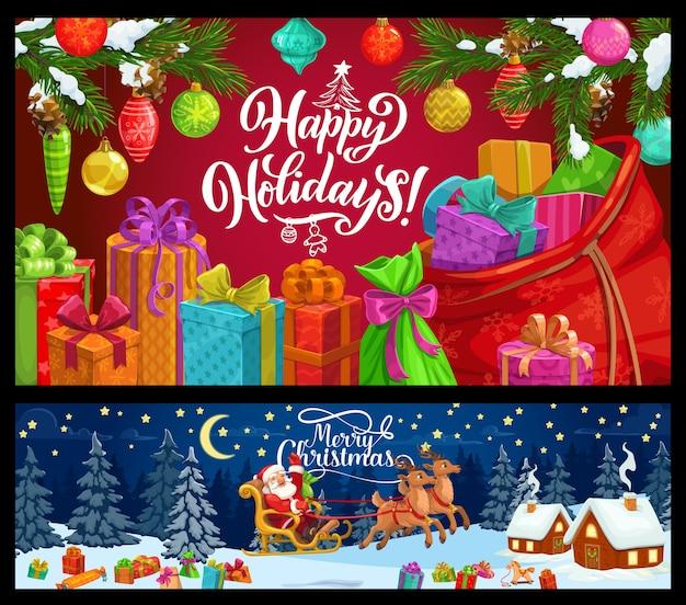 Auguri di natale banner di vacanze invernali design. albero di natale, regali e babbo natale con slitta di renne, regali, nastri e fiocchi, neve, borsa e rami di pino, palline, fiocchi di neve e coni