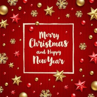 Auguri di natale - design tipo calligrafia e decorazioni natalizie su uno sfondo rosso lavorato a maglia