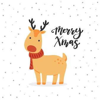 Cartolina d'auguri di natale design con personaggio dei cartoni animati di renne, elementi di design disegnati a mano, lettering qoute merry xmas.