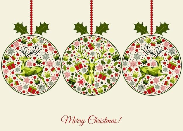Biglietto di auguri di natale felice anno nuovo sfondo palla di natale con regali di renne e fiocchi di neve