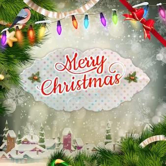 Sfondo di luce e fiocchi di neve biglietto di auguri di natale. le vacanze di buon natale desiderano il design e la decorazione di ornamenti vintage. messaggio di felice anno nuovo.